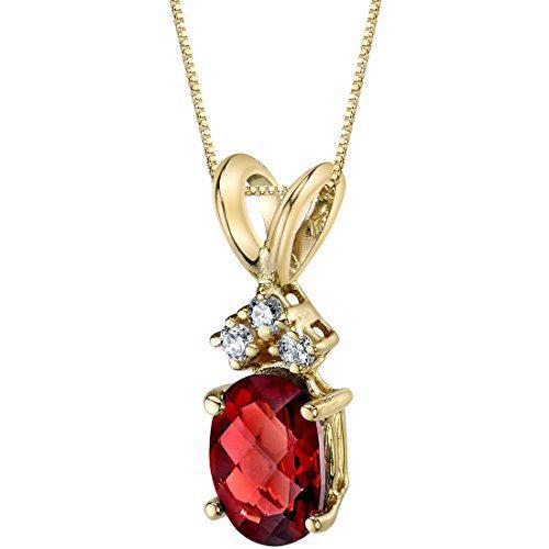 14 Karat Yellow Gold Oval Shape 1.00 Carats Garnet Diamond Pendant