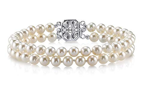 7.0-7.5mm White Freshwater Cultured Pearl Double Strand Bracelet