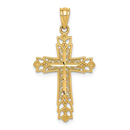 Jewels By Lux 14k Gold Polished Filigree Cross Pendant