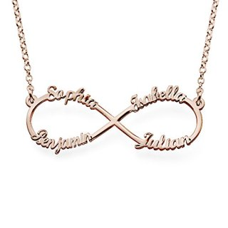 Infinity Pendant 4 Names Necklace in Rose Gold Plated
