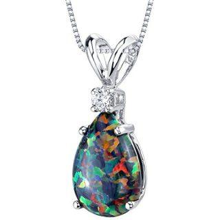 14 Karat White Gold Pear Shape Created Black Opal