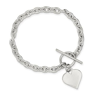 Sterling Silver Heart Toggle Bracelet 8 Inch Charm