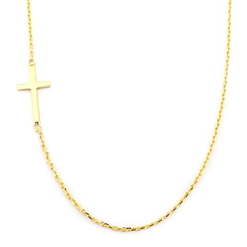14k Yellow Gold Offset Sideways Cross Pendant Necklace