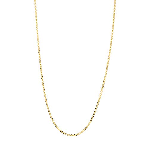 Solid 14k Yellow Gold Italian 0.85mm Diamond Cut Cable Chain Necklace