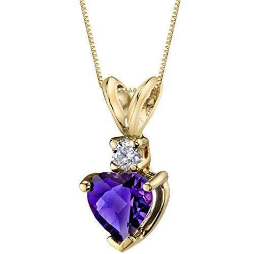 14 Karat Yellow Gold Heart Shape 0.75 Carats Amethyst