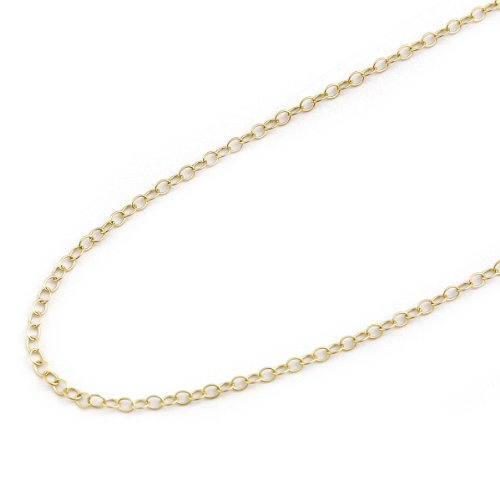 Beauniq 14k Solid Yellow Gold 1.5mm Cable Chain Necklace