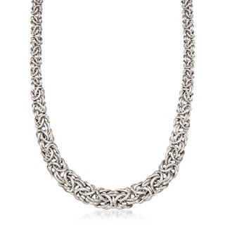 Ross-Simons Sterling Silver Graduated Byzantine Necklace