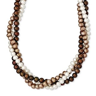 Sterling Silver 6mm White Brown Beige Freshwater Cultured Potato Pearl