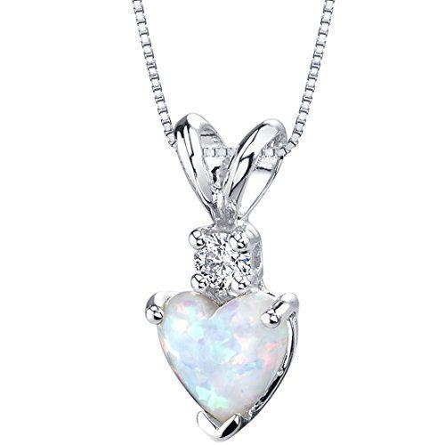 14 Karat White Gold Heart Shape Created Opal Diamond Pendant
