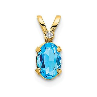 14k Yellow Gold Diamond Blue Topaz Birthstone Pendant Charm