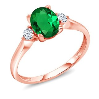 Gem Stone King 10K Rose Gold Green Simulated Emerald