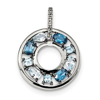 Sterling Silver Blue Topaz Cubic Zirconia Cz Circle Pendant Charm Necklace