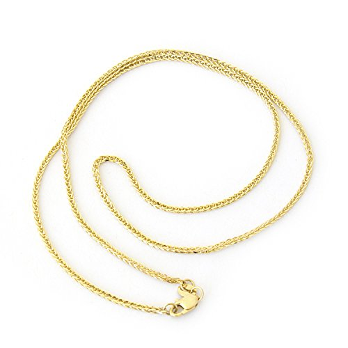 Beauniq 14k Yellow Gold 1.6mm Square Wheat Chain Necklace