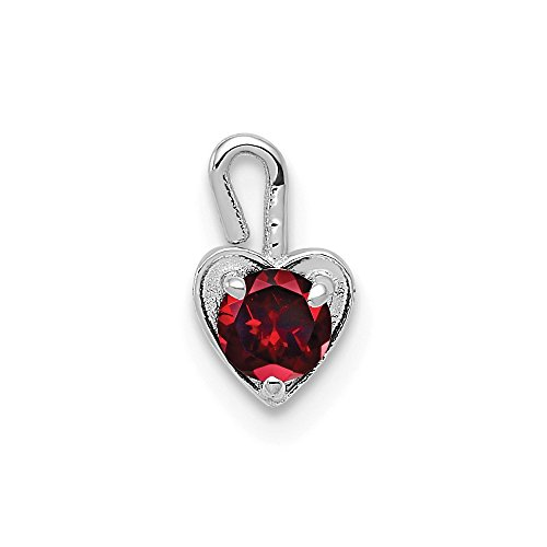14k White Gold January Synthetic Birthstone Heart Pendant Charm Necklace