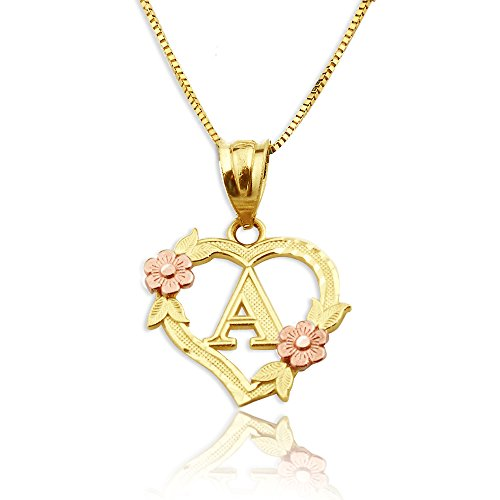 LoveBling 10K Yellow Gold Alphabet Initial Charm Necklace Pendant