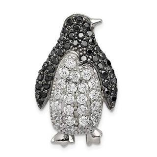 925 Sterling Silver Black White Cubic Zirconia Cz Penguin Slide Necklace