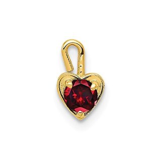 14k Yellow Gold January Synthetic Birthstone Heart Pendant