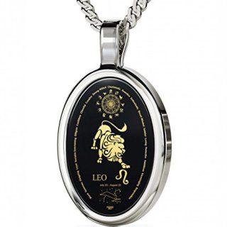 Nano Jewelry Silver Zodiac Pendant Leo Necklace Inscribed in 24k Gold