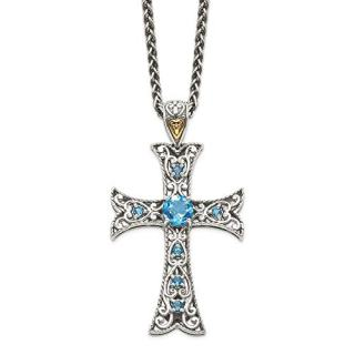 Sterling Silver 14k Blue Topaz Chain Necklace Pendant