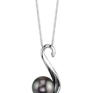 THE PEARL SOURCE 8-9mm Genuine Black Tahitian South Sea Cultured Pearl