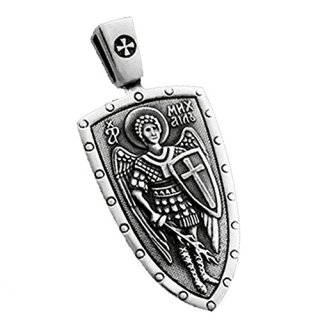 VENICEBEE ARCHANGEL SAINT MICHAEL CROSS SHIELD STERLING SILVER