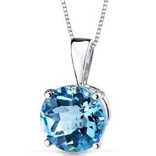 14 Karat White Gold Round Cut 2.50 Carats Swiss Blue Topaz