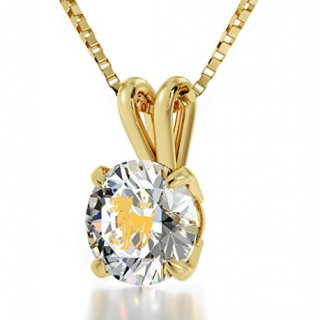 Nano Jewelry Gold Plated Zodiac Pendant Aries Necklace