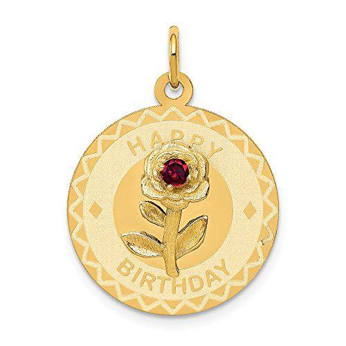 14k Yellow Gold Happy Birthday Disc Pendant Charm Necklace