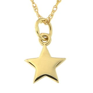 14k Yellow Gold Tiny Star Pendant Necklace