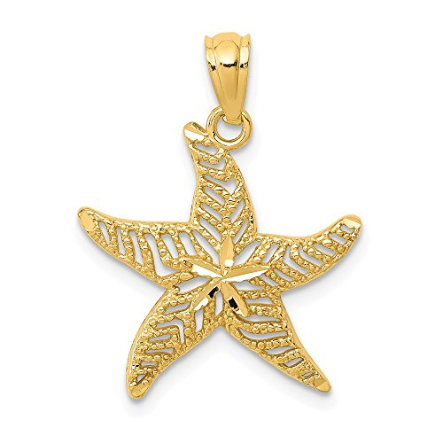 14k Yellow Gold Filigree Starfish Pendant Charm Necklace