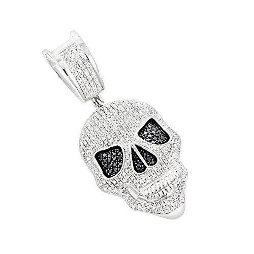 10K Gold White and Black Diamond Iced Out Skull Pendant