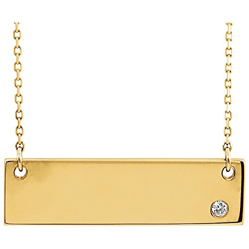 """Jewels By Lux 14K Yellow Gold .03 CT Diamond Bar 18"""" Necklace"""