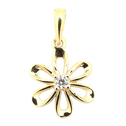 Beauniq 14k Yellow Gold Cubic Zirconia Flower Pendant Necklace