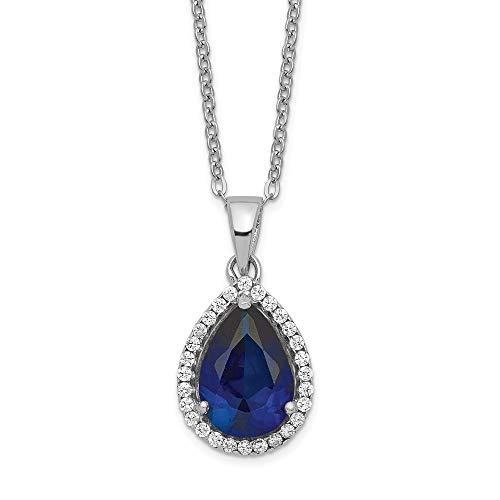 925 Sterling Silver Created Sapphire Cubic Zirconia Cz Chain Necklace Set