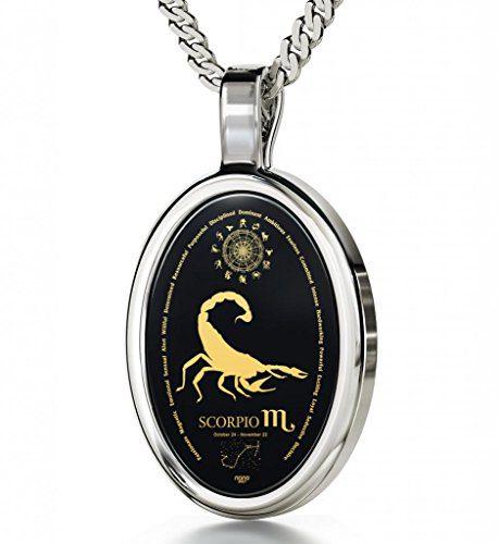 Nano Jewelry Silver Zodiac Pendant Scorpio Necklace Inscribed in 24k Gold