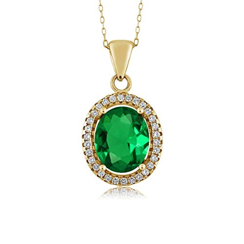 Gem Stone King 4.03 Ct Oval Green Simulated Emerald 18K Yellow Gold