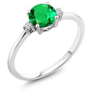 Gem Stone King 10K White Gold Engagement Solitaire Ring set