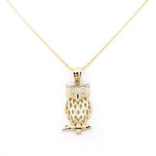 Beauniq 14k Yellow Gold Diamond Cut Open Owl Pendant Necklace
