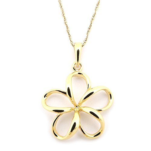 Beauniq 14k Yellow Gold Hawaiian Flower Pendant Necklace