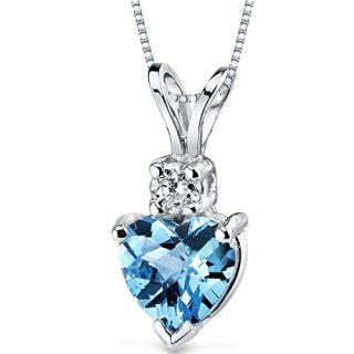 14 Karat White Gold Heart Shape 1.00 Carats Swiss Blue Topaz