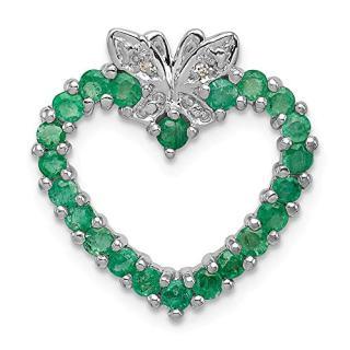 Sterling Silver Green Emerald Diamond Heart Pendant Charm Necklace