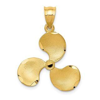 14k Yellow Gold Propeller Pendant Charm Necklace Sea