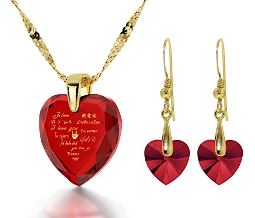 Gold Plated I Love You Necklace 12 Languages Gold Inscribed Red CZ