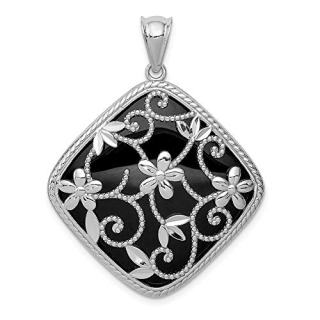 Sterling Silver Textured Black Onyx Pendant Charm Necklace
