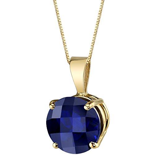 14 Karat Yellow Gold Round Cut 2.50 Carats Created Blue Sapphire
