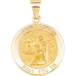Jewels By Lux 14K Yellow Gold 18mm Round Hollow St. Luke Medal