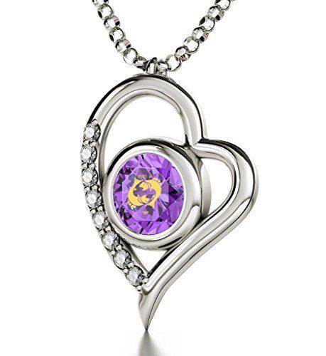Nano Jewelry Sterling Silver Zodiac Heart Pendant Pisces Necklace