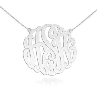Monogram Necklace Silver - Personalized Initial Necklace