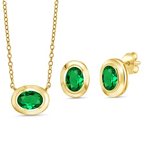 Gem Stone King 1.80 Ct Simulated Emerald 18K Yellow Gold Plated