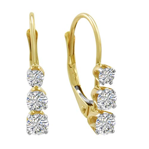 AGS Certified 1/2ct TW Three-Stone Diamond Lever Back Earrings